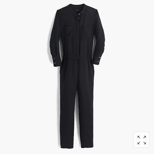 J-Crew Drapey oxford crepe long-sleeve jumpsuit